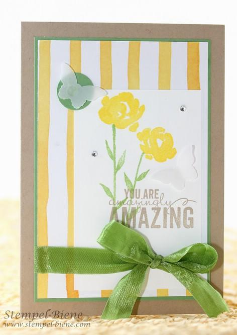 Stampin Up Painted Petals, Grußkarte Stampin Up, Stampin Up Jahreskatalog 2015-2016, Stampin Up neuer Katalog, Match the Sketch, Stempel-Biene, Stampin up Auslaufliste 2015