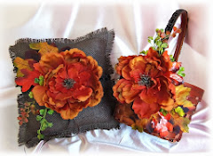 Fall wedding burlap pillow and basket set