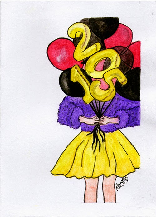 christmas card balloon girl lady woman holding