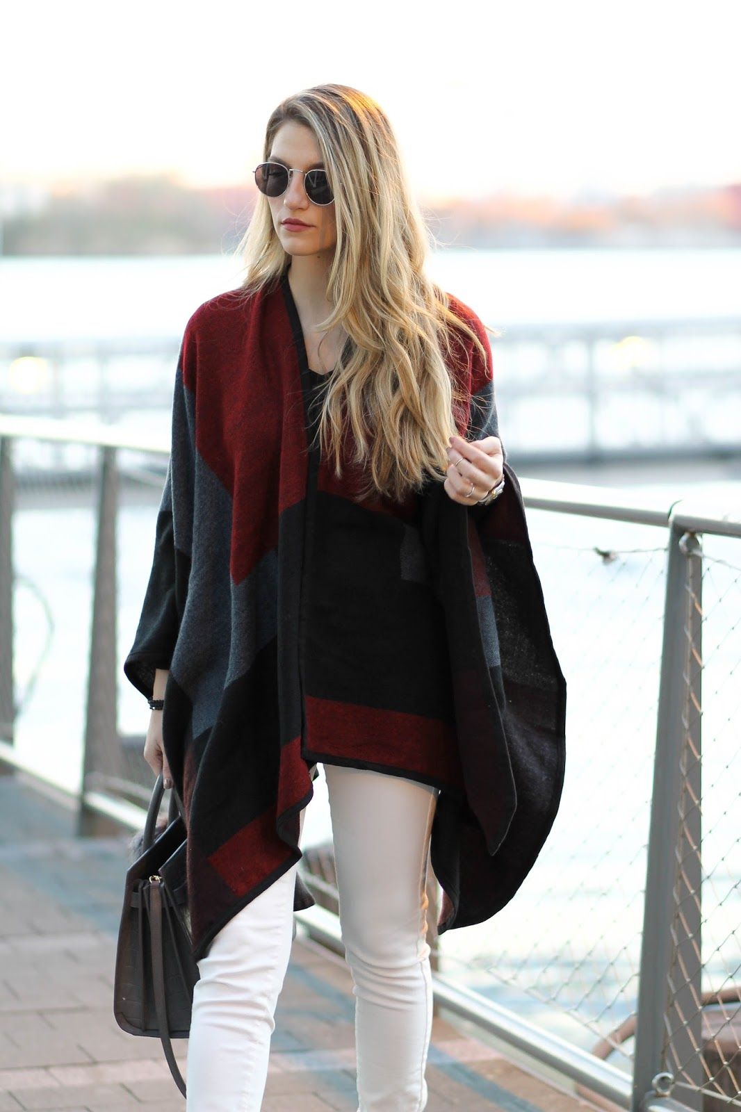 freyrs sunglasses, color block poncho