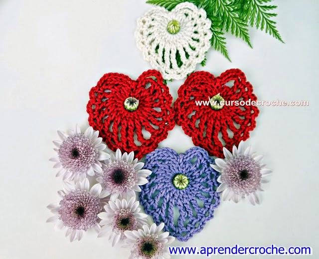 corações croche tamanhos cores aprender croche blog com edinir-croche dvd loja video-aulas loja frete gratis