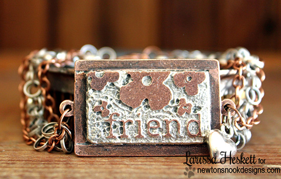 Friend Stamped Bracelet by Larissa Heskett | Fanciful Florals Bold Flower Stamp set by Newton's Nook Designs
