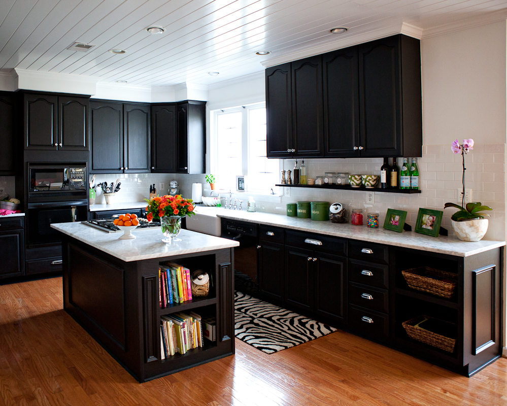 Turning a house into a home kiki 39 s list for Black kitchen cabinets with dark floors