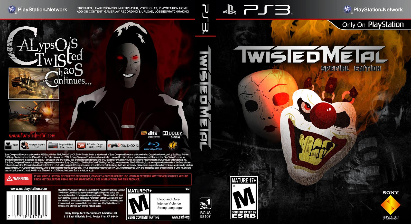 Capa Twisted Metal Special Edition PS3