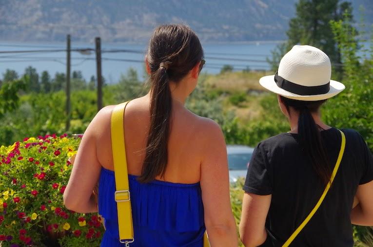 girls overlook view from Hillside winery- BTBU