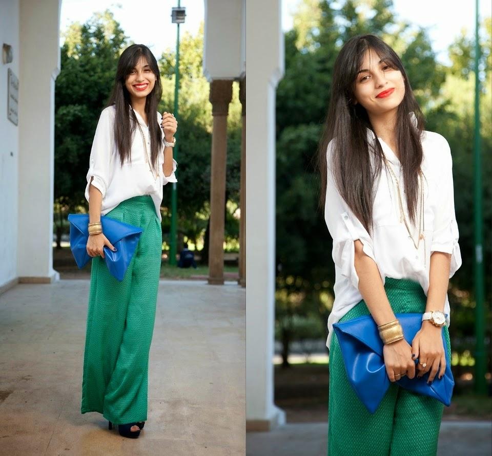 Shirt design with plazo - Green Plazo With White Shirt