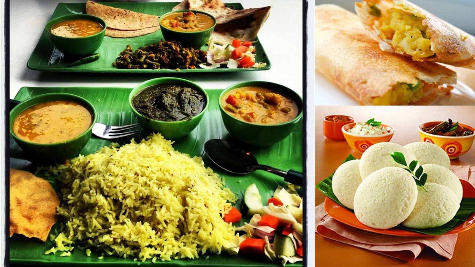 Complete food plate and South Indian dishes Masala Dosa and idli