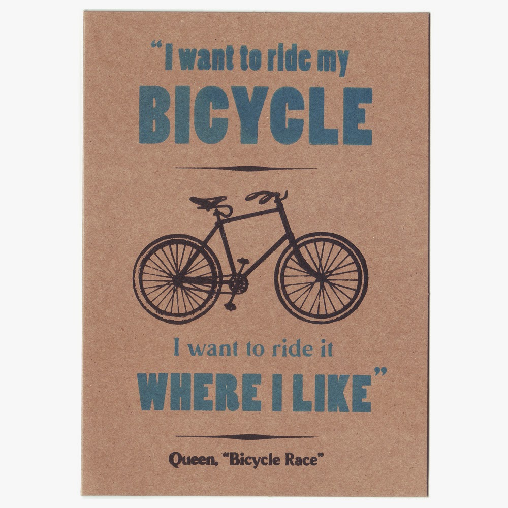 Screen printed Bicycle themed card