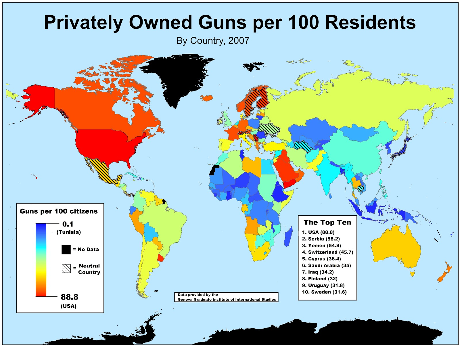first of all i was surprised to see that neutral countries occupy just about every class on the spectrum of gun ownership neutral japan has a very low gun
