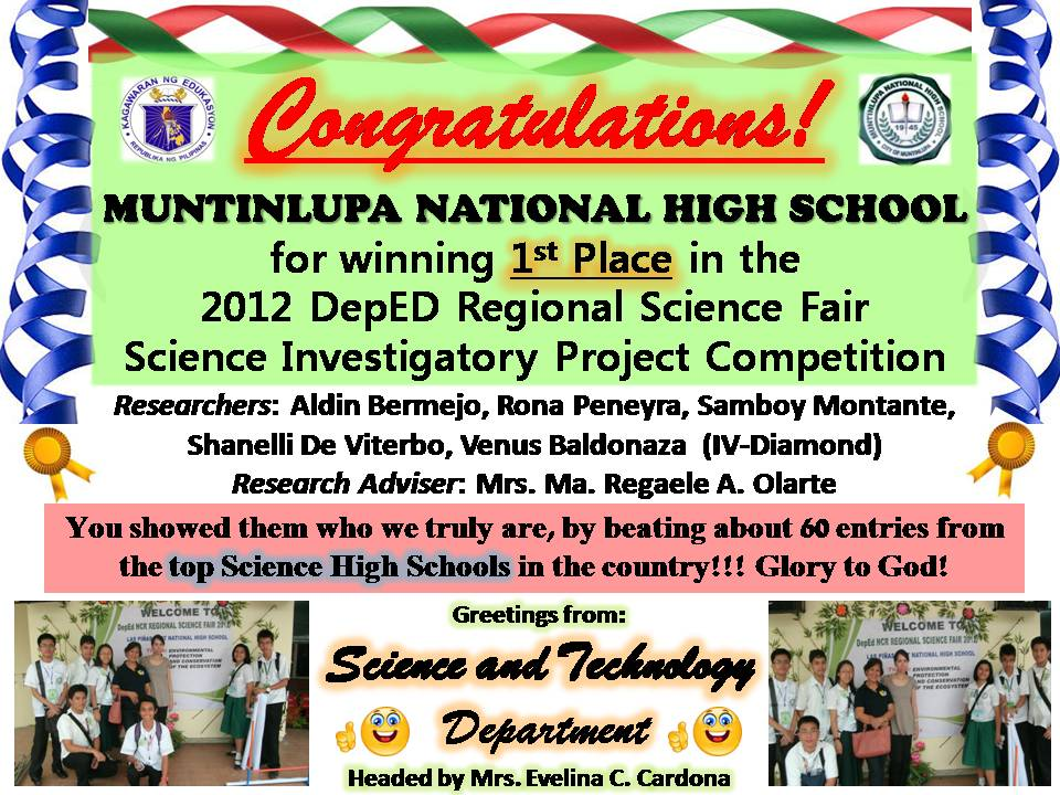 SCIENCE INVESTIGATORY PROJECTS FROM MUNTINLUPA NATIONAL HIGH SCHOOL :)