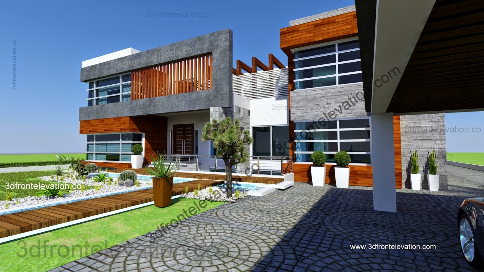 D Home Front Elevation Software : D front elevation new beautiful kanal house plan