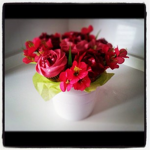 Cupcake bouquet rosas fucsias