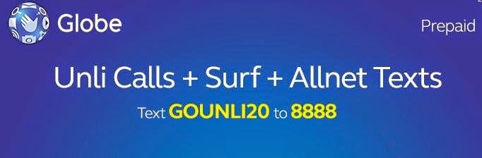 GoUnli20 And How To Register Globe Prepaid Promos