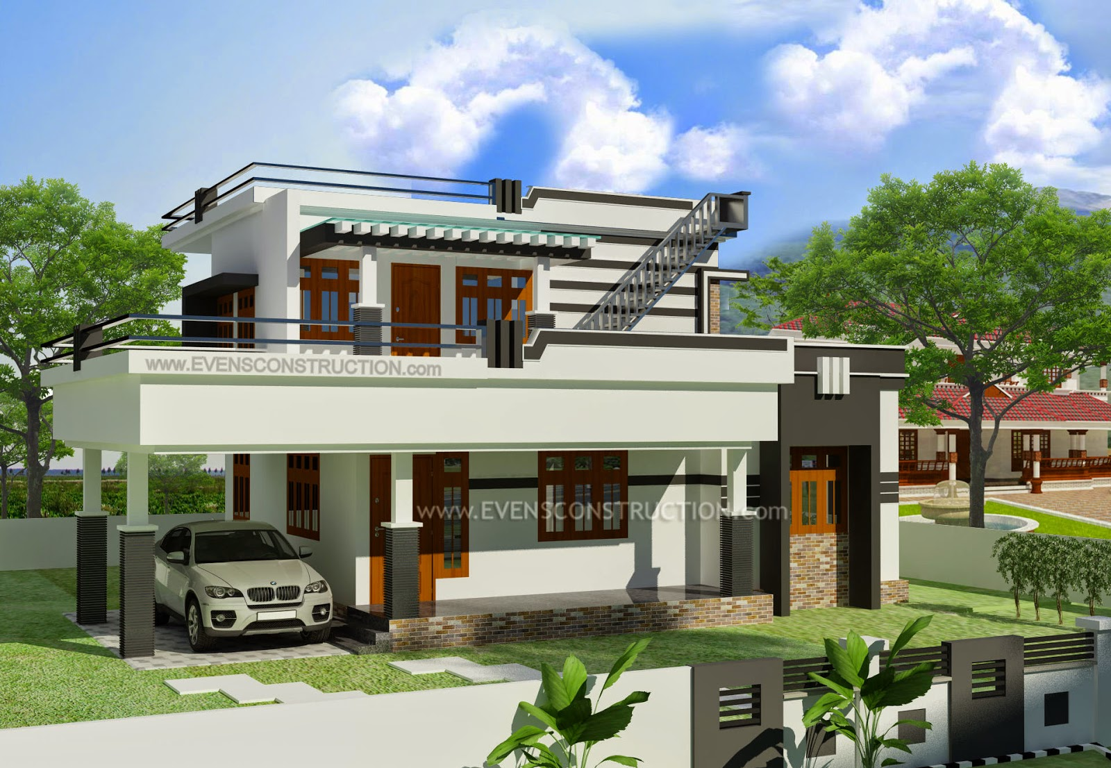 Evens construction pvt ltd flat roof home for Flat roof elevation