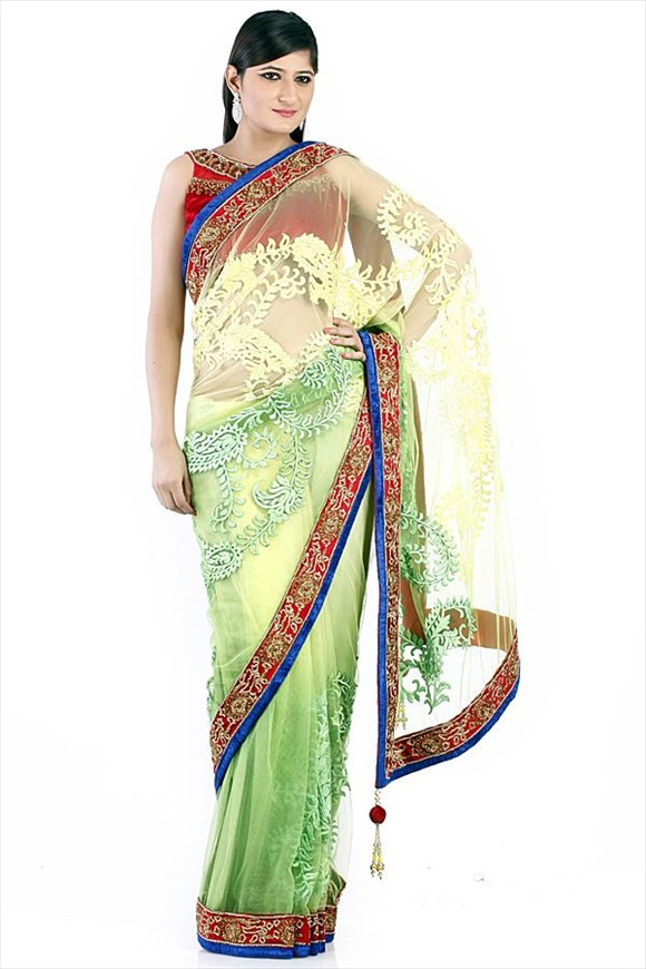 Meadow Green Net Saree