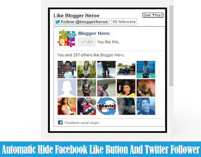 Automatic Hide Facebook Like Button And Twitter Follower