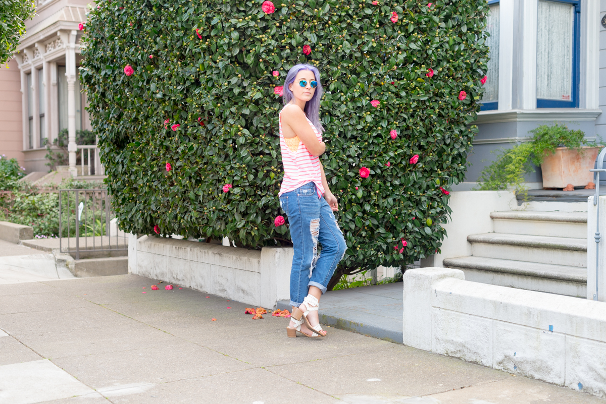 San Francisco Blogger Bryn Newman of Stone Fox Style in the Victoria Secret PINK Eyelash Lace Bralette