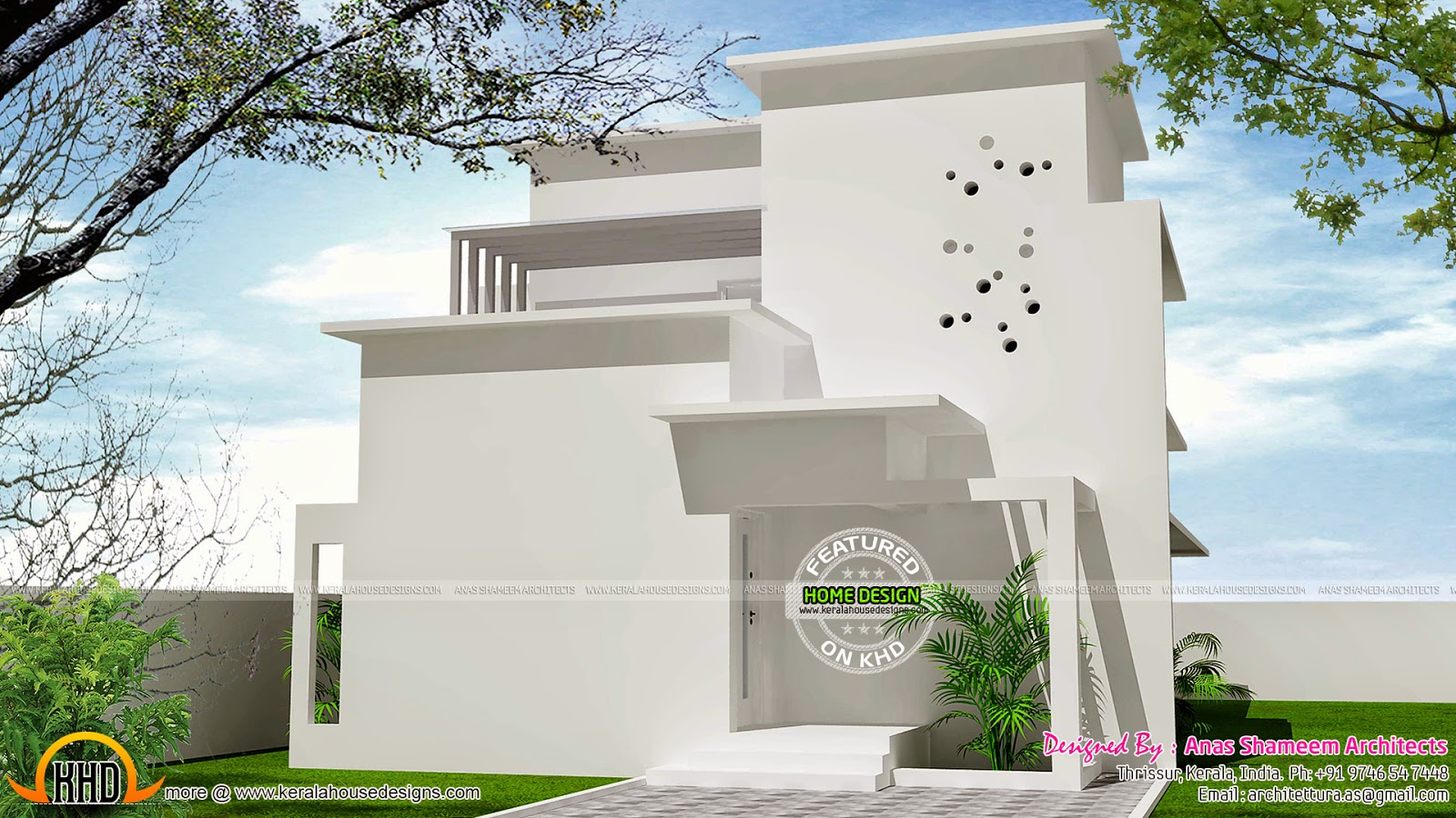 Unique white house design kerala home design and floor plans for Pure home designs