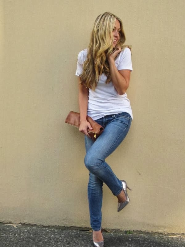 simple yet glam with the sequin shoes..i could see this for a sports bar