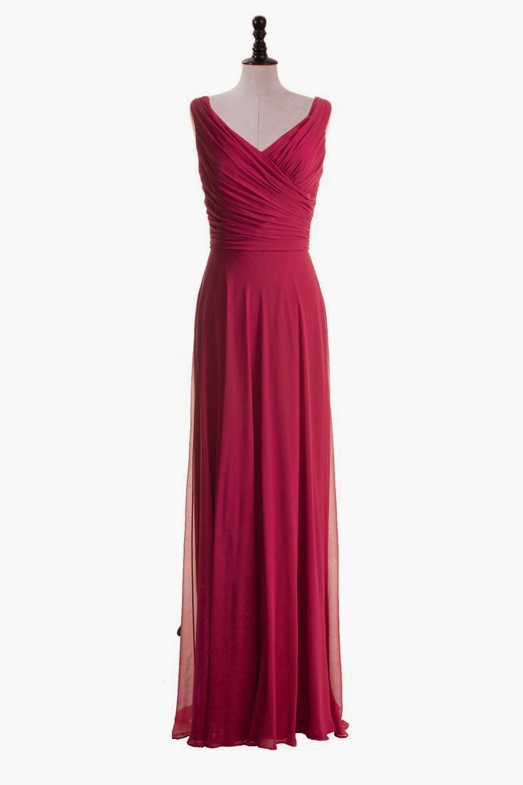 Simple Floor Length V-Neck Chiffon Gown. BEAUTIFUL dress for bridesmaids.