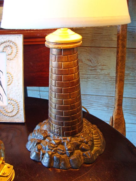 Skipjacks nautical living the perfect table lamps for your old bronzed metal lighthouse converted into a table lamp perfect look for your coastal home aloadofball Choice Image