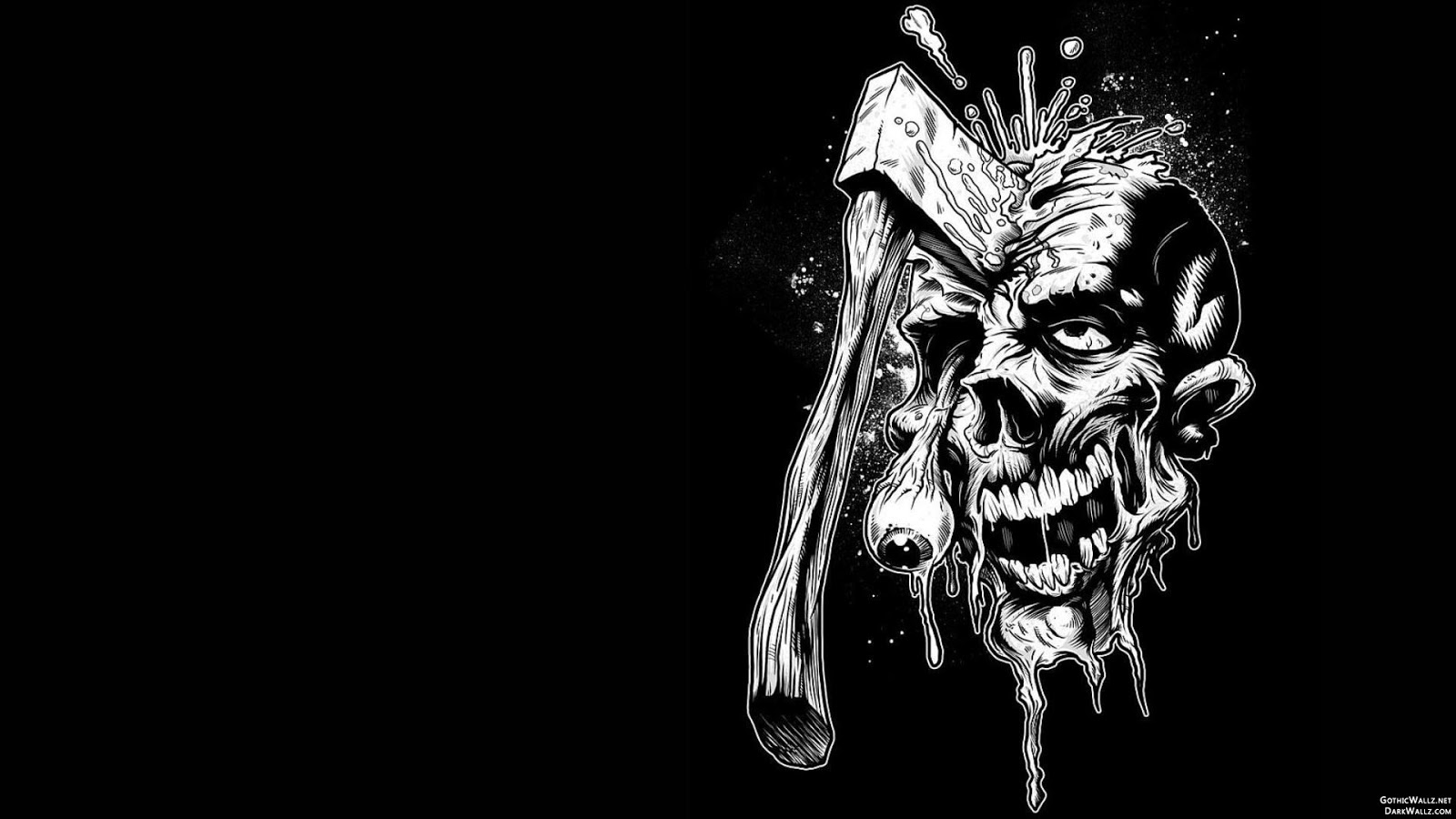 Axe in skull abstract illustration | Dark Gothic Wallpaper Download