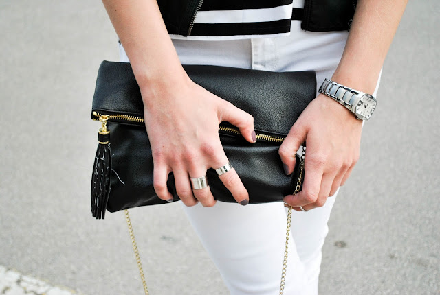 monochrome look, white pants look, zara leather jacket, H&M clutch bag, asos stack rings, stack rings, police watch