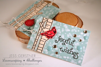 Christmas Tags by Jess Gerstner featuring Lawn Fawn Joy to the Woods and Let's Bokeh in the Snow