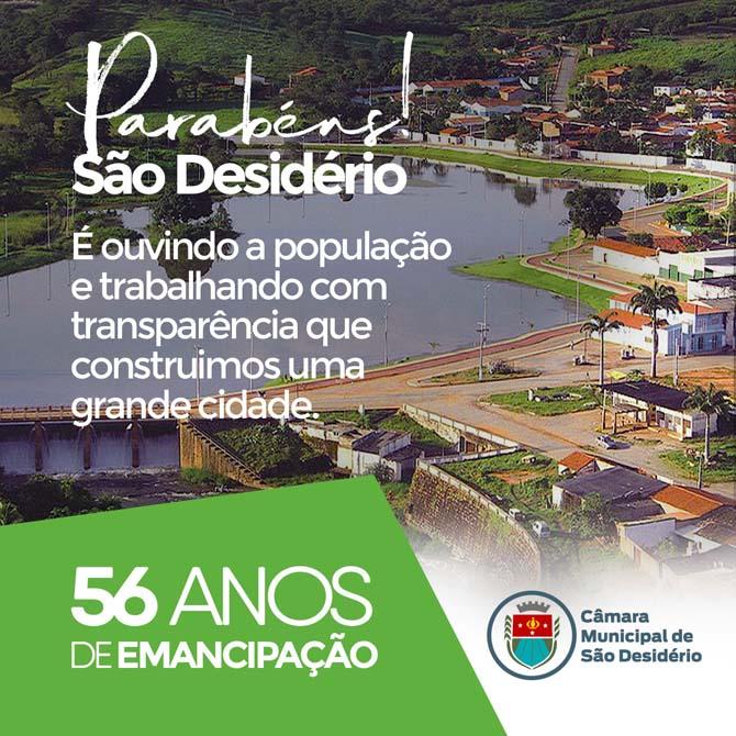 SÃO DESIDÉRIO: 56 ANOS DE EMANCIPAÇÃO POLÍTICA