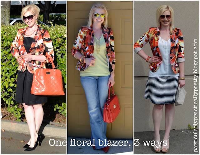 One floral blazer, 3 ways