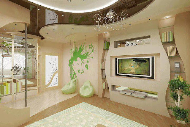 Stylish plasma TV cabinet in wall design