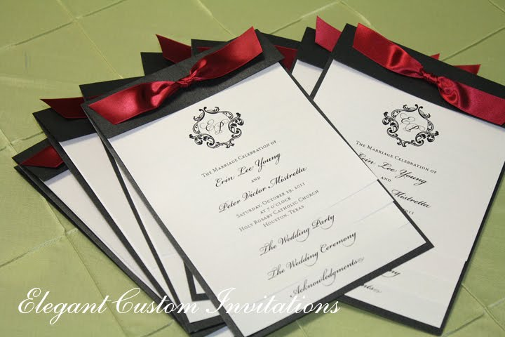 The Ceremony Programs Were Layered Style Accented With A Satin Ribbon As Well