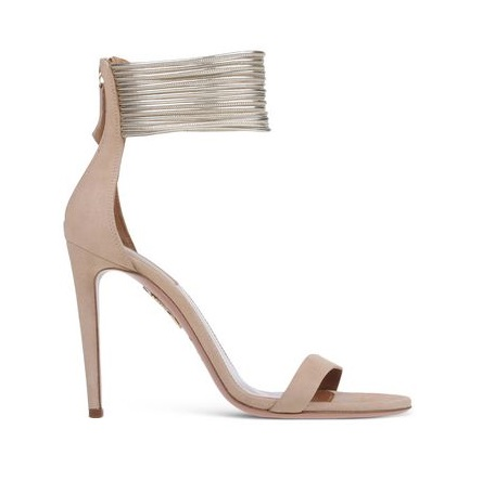 Aquazzura Nude and Silver Stilettos