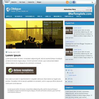 Obligue blogger template. template blogspot magazine style