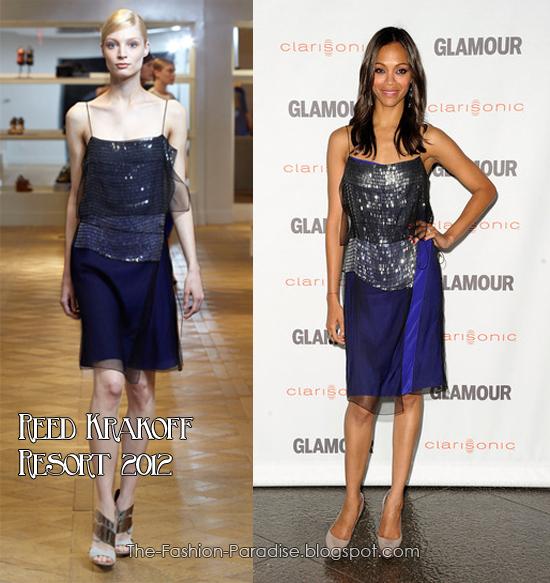 Olivia Wilde llevó un vestido bicolor, negro y nude de J. Mendel Resort 2012 ...
