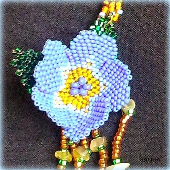 Beaded jewelry set Honey and cornflowers