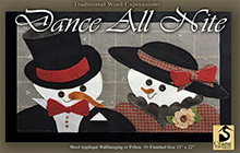 """Dance All Nite Wool Applique Wallhanging or Bench Pillow 13""""x 22"""""""