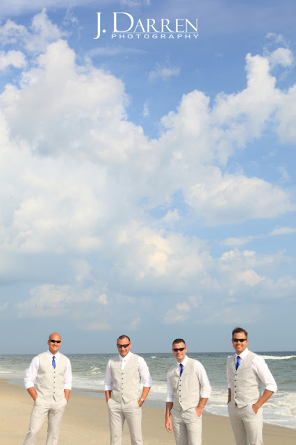 photos of the groomsmen at an Emerald Isle Beach Wedding North Carolina J. Darren Photography