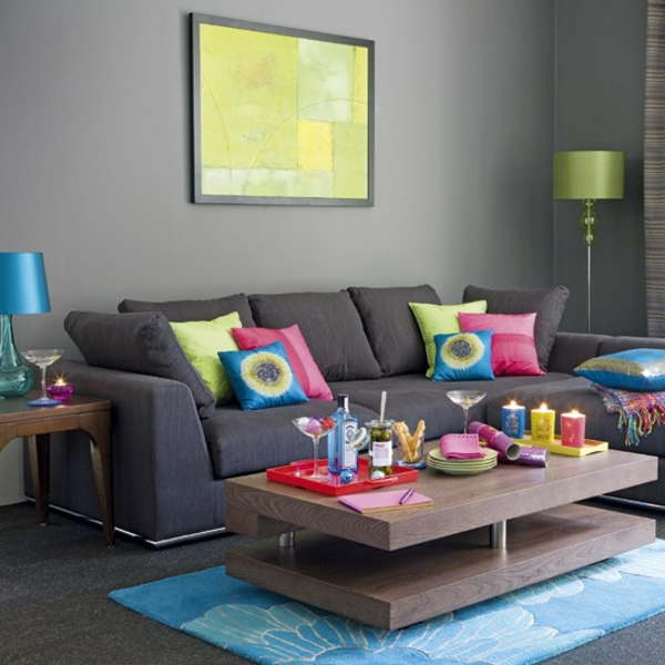Decoraci n de salas con colores vivos ideas para decorar for Decoracion de salas en gris