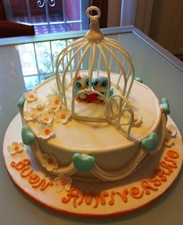 torta anniversario decorata con gabbia per uccelli birdcage cake
