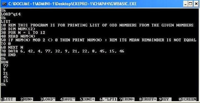 gwbasic programs You can see from the above output that when we input the character t (capital t) then it is showing its ascii code, that is, 84 and when we input the character s (small s) then it shows ascii code 115, that is code of small s (because the ascii codes of small abc range between 97 to 122.