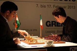 Echecs : Viswanathan Anand (2780) 1/2 Fabiano Caruana (2757) au Grenke Chess Classic Baden-Baden 2013