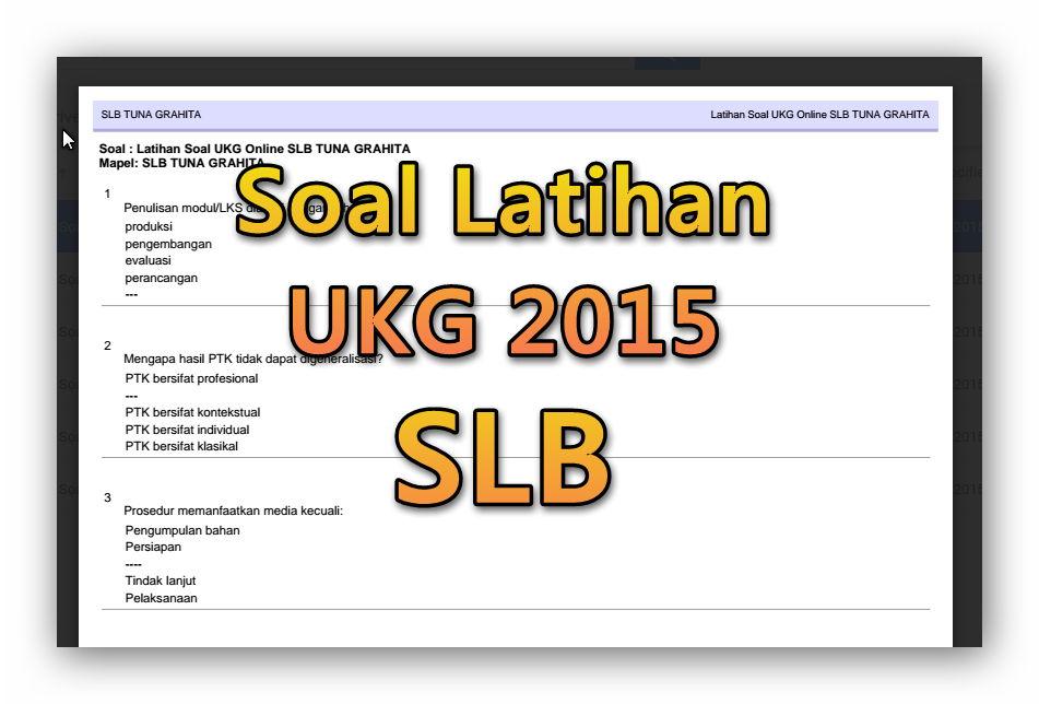 Soal Latihan Ukg 2015 Slb Lengkap Guru Galeri