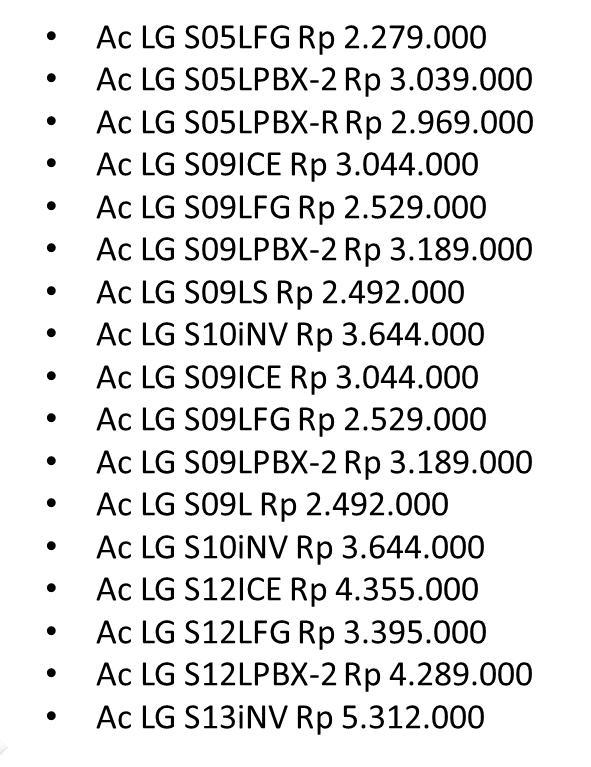 Daftar Harga Ac LG Hercules Mini