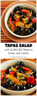 Tapas Salad Recipe with Grilled Bell Peppers, Olives, and Capers (Low-Carb, Paleo, Gluten Free, Vegan) [from KalynsKitchen.com]