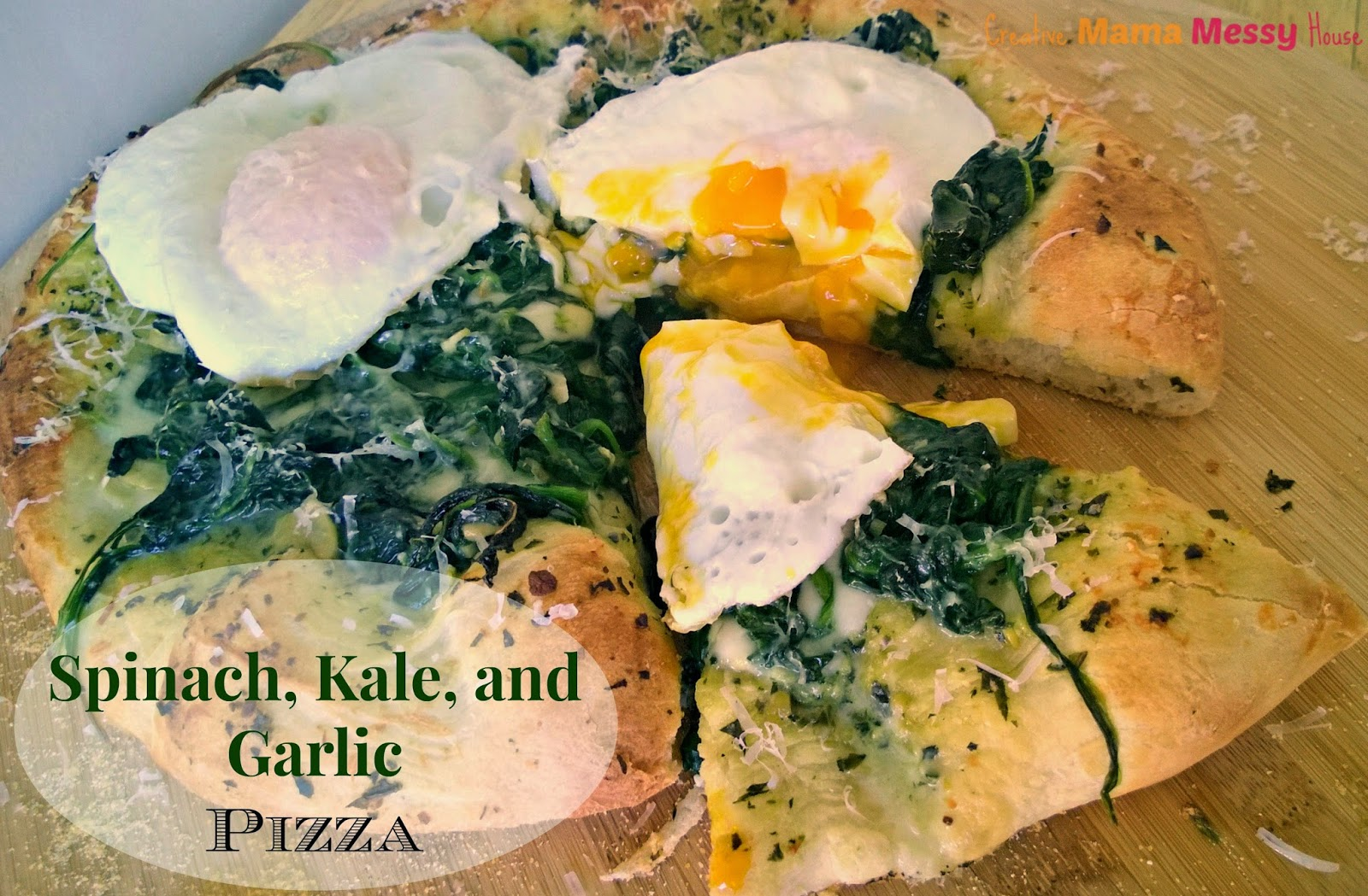 Spinach, Kale, and Garlic Pizza - with Kale Pesto recipe