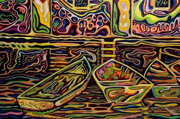 Dories at the Stage - Acrylic Painting