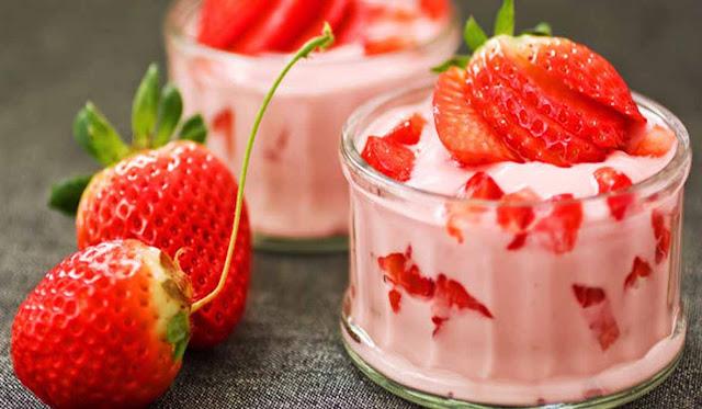 Resep Puding Strawberry Yogurt