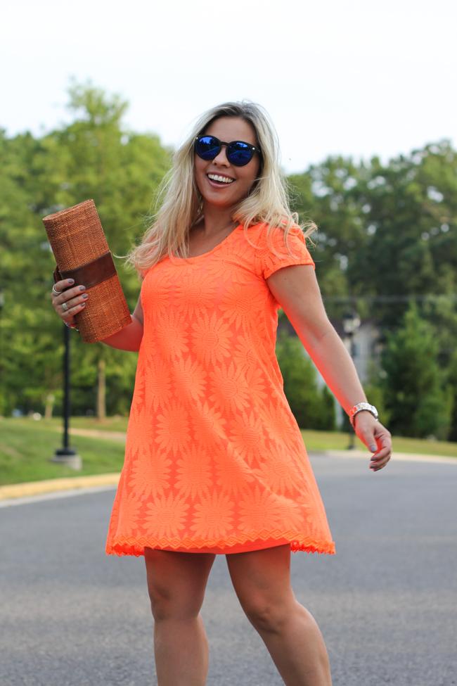 neon orange sun dress