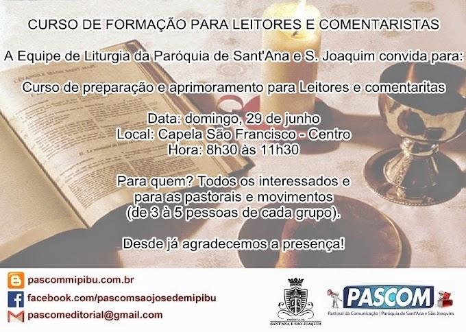 CURSO DE FORMAÇÃO PARA LEITORES E COMENTARISTAS